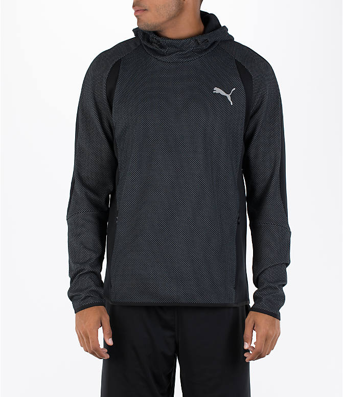 Front view of Men's Puma Evo Stripe Hoodie in Black