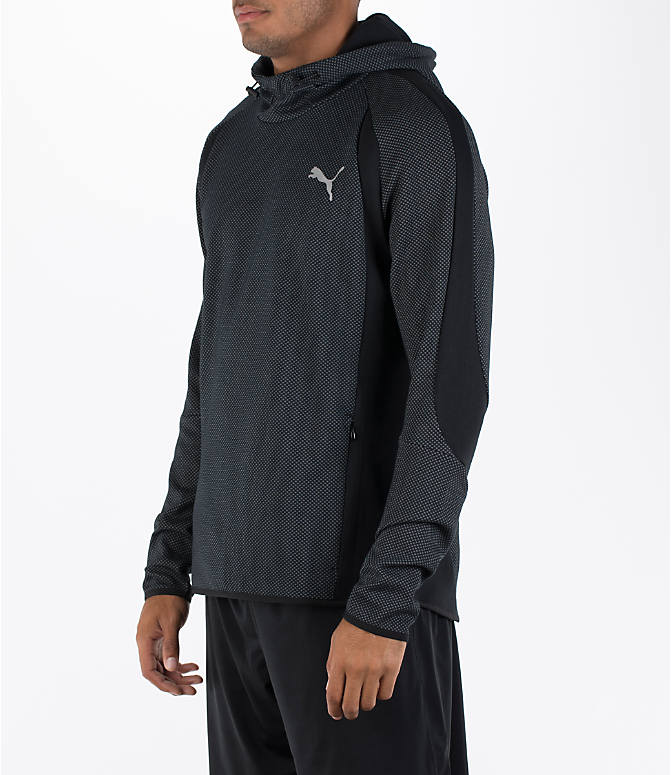 Front Three Quarter view of Men's Puma Evo Stripe Hoodie in Black