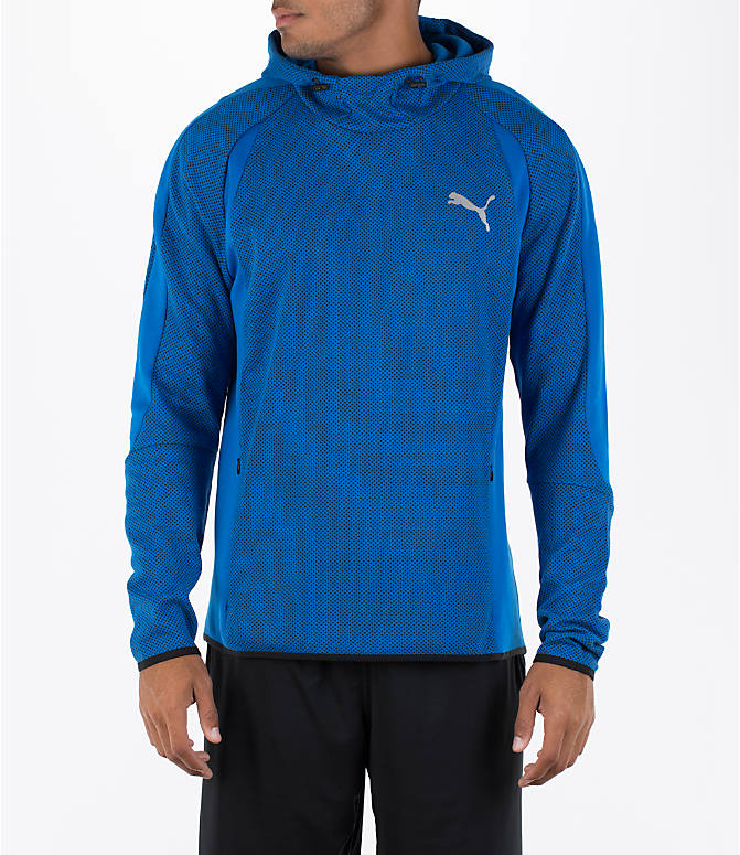 Front view of Men's Puma Evo Stripe Hoodie in Blue