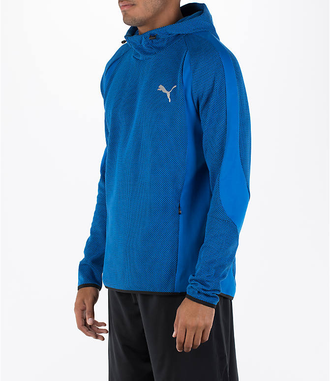 Front Three Quarter view of Men's Puma Evo Stripe Hoodie in Blue