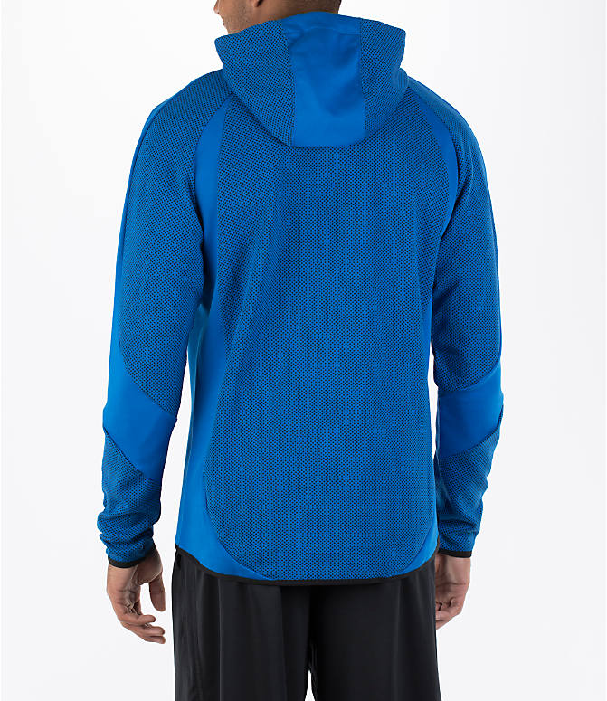 Back Left view of Men's Puma Evo Stripe Hoodie in Blue