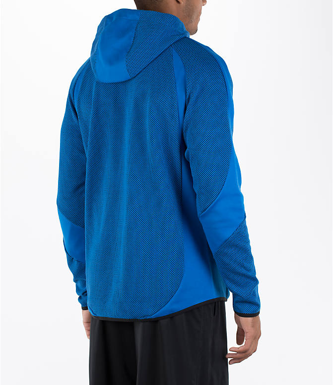 Back Right view of Men's Puma Evo Stripe Hoodie in Blue