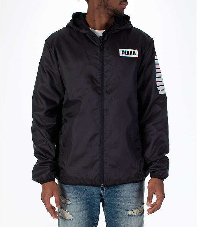 Front view of Men's Puma Rebel Windbreaker Jacket in Black
