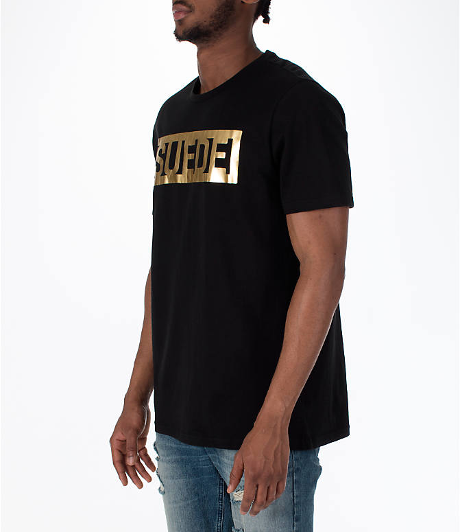 Front Three Quarter view of Men's Puma BBoy Suede T-Shirt in Black