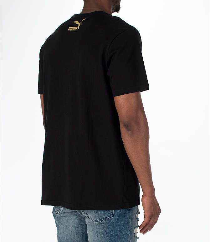 Back Right view of Men's Puma BBoy Suede T-Shirt in Black
