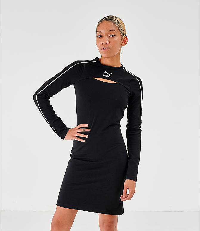 Front view of Women's Puma Classics Long-Sleeve Dress in Puma Black