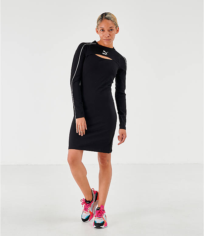 Front Three Quarter view of Women's Puma Classics Long-Sleeve Dress in Puma Black
