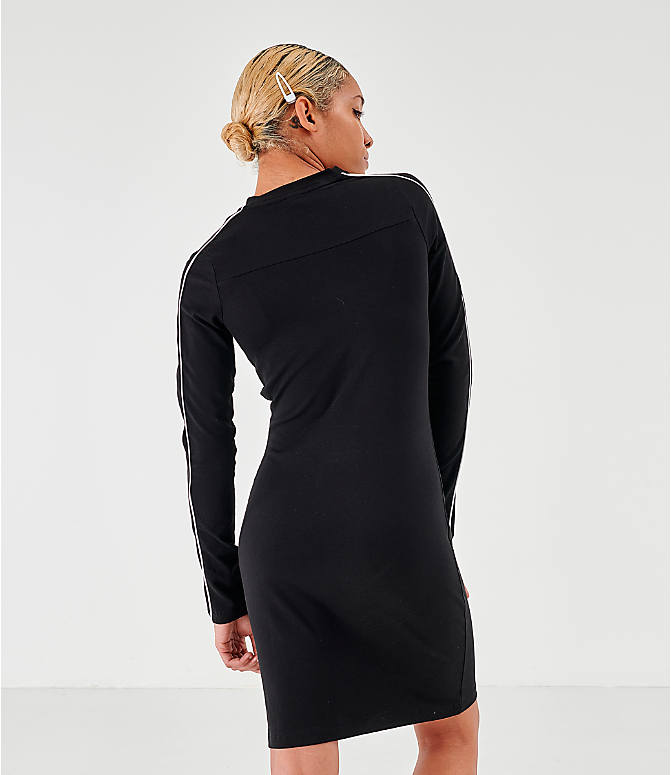Back Left view of Women's Puma Classics Long-Sleeve Dress in Puma Black