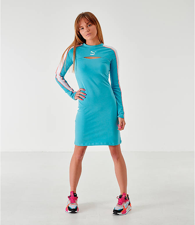 Front Three Quarter view of Women's Puma Classics Long-Sleeve Dress in Milky Blue
