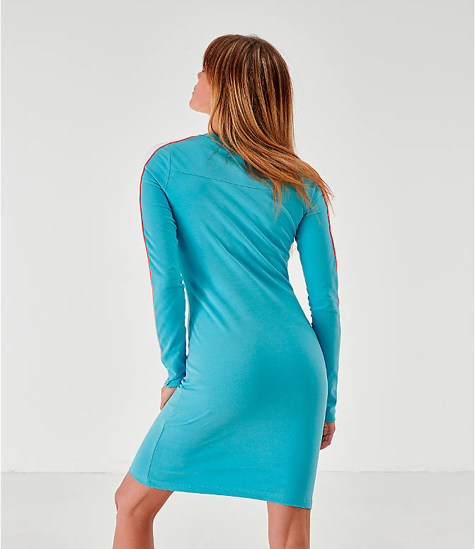 Back Left view of Women's Puma Classics Long-Sleeve Dress in Milky Blue