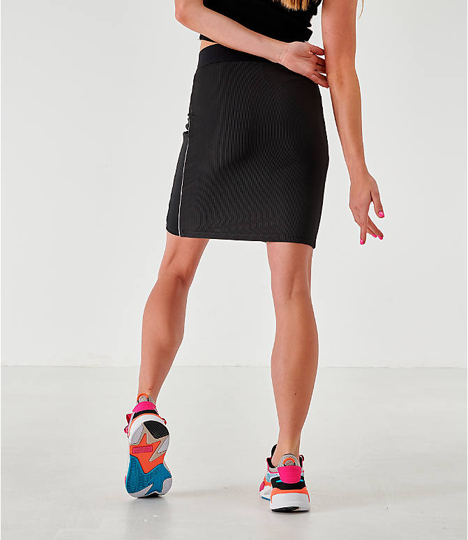 Back Right view of Women's Puma Rib Skirt in Black