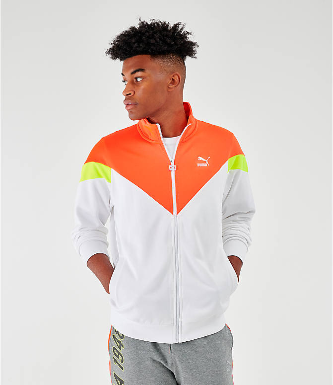 Front view of Men's Puma Iconic MCS Track Jacket in White/Orange