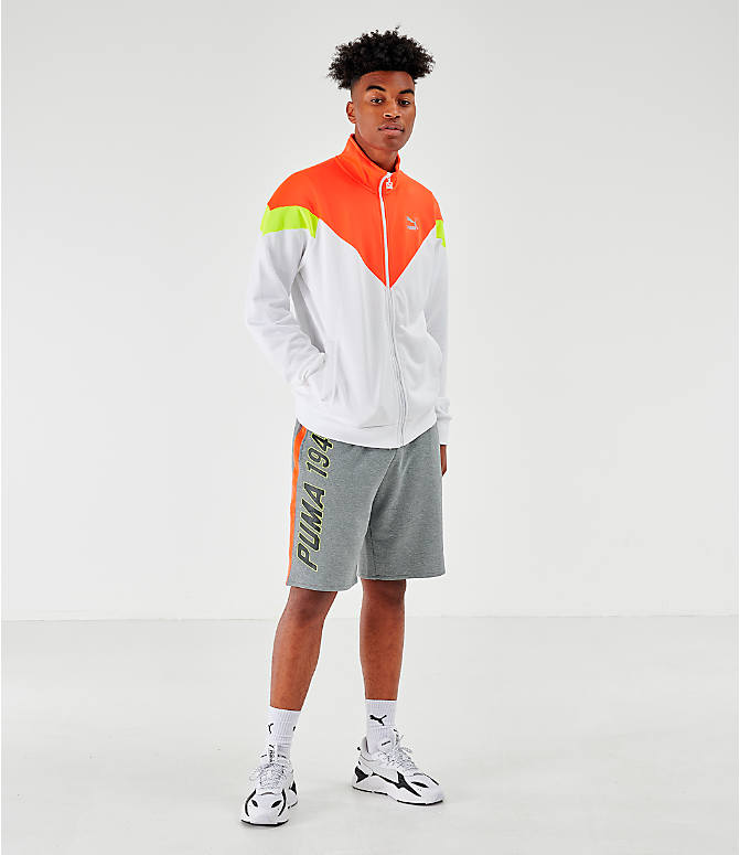 Front Three Quarter view of Men's Puma Iconic MCS Track Jacket in White/Orange