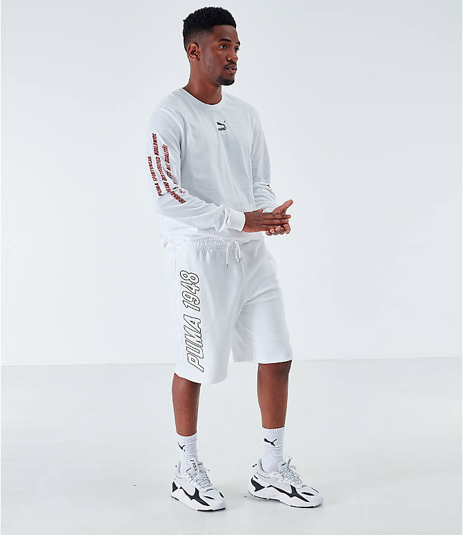 Front Three Quarter view of Men's Puma Lux Shorts in White