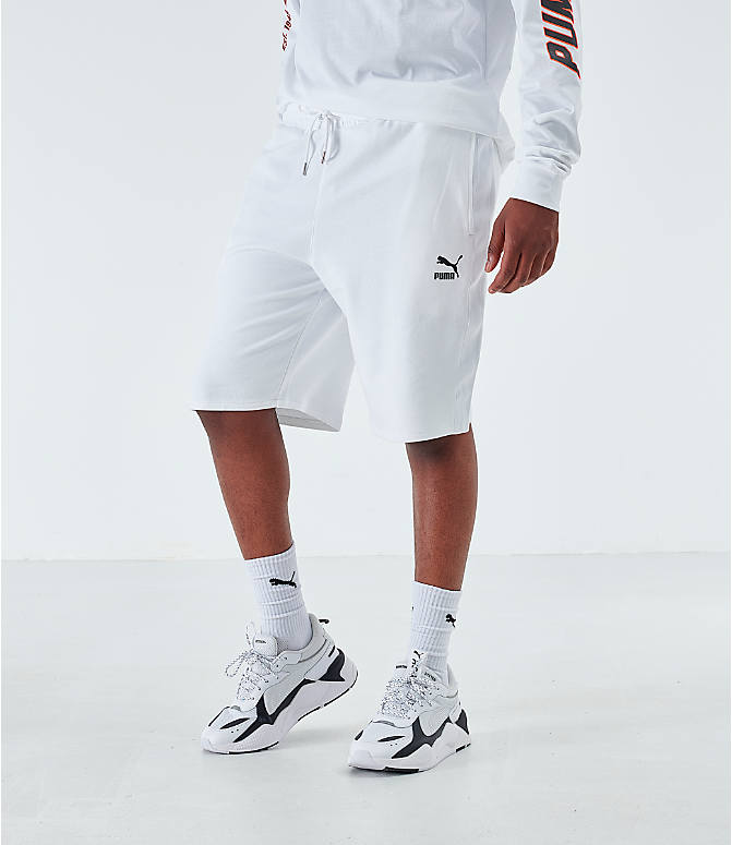 Back Left view of Men's Puma Lux Shorts in White