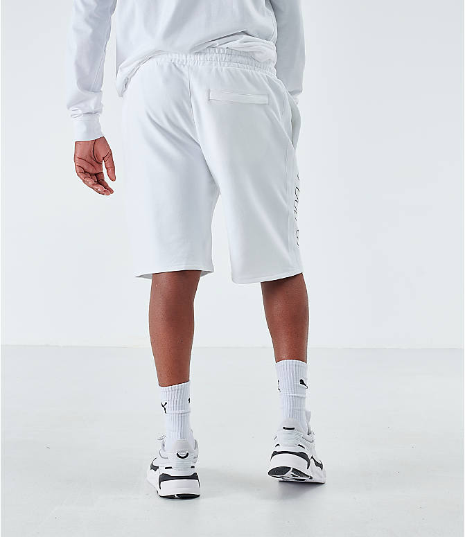Back Right view of Men's Puma Lux Shorts in White