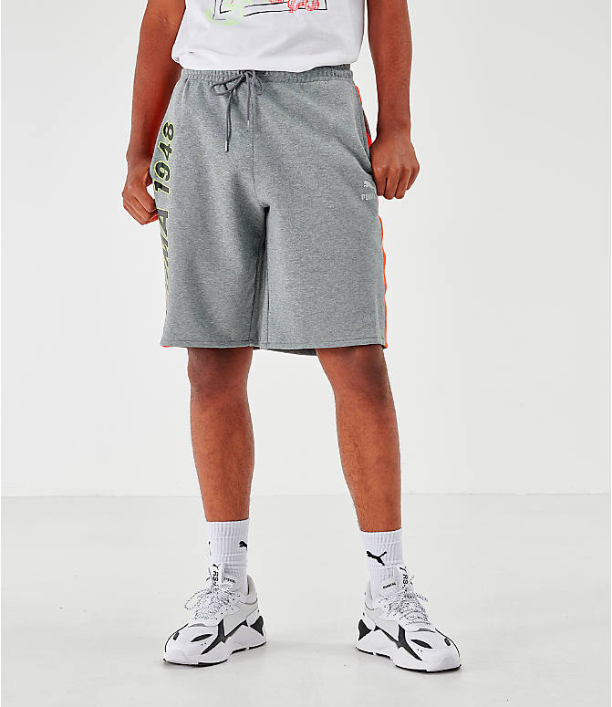 Back Left view of Men's Puma Lux Shorts in Grey