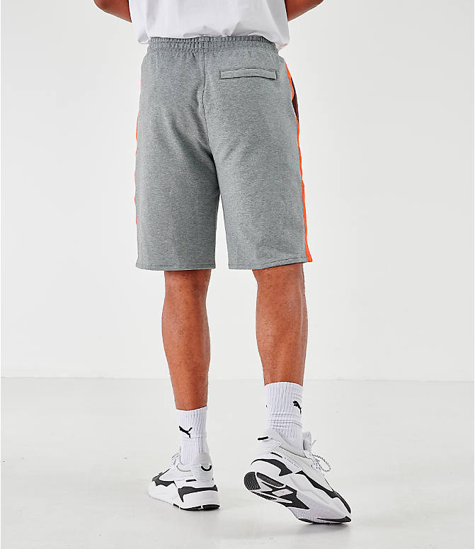 Back Right view of Men's Puma Lux Shorts in Grey