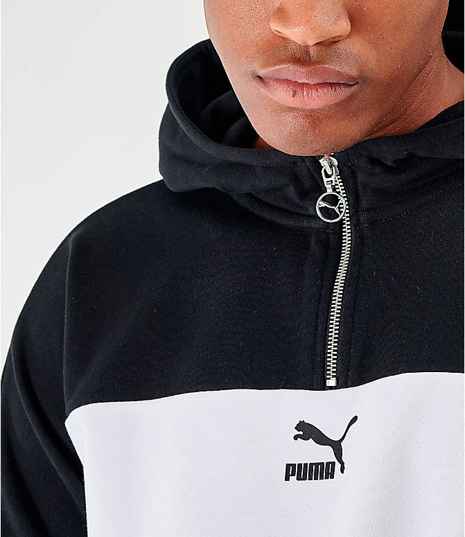 On Model 5 view of Men's Puma Lux Half-Zip Hoodie in Black/White