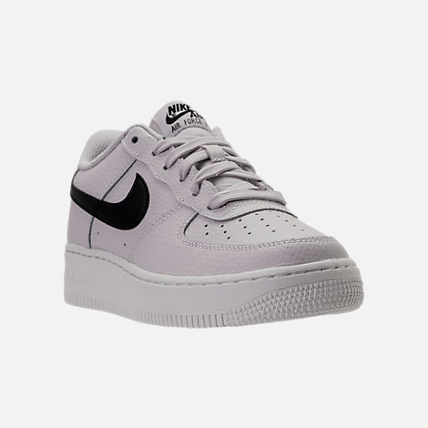Three Quarter view of Boys' Grade School Nike Air Force 1 Low Casual Shoes in Vast Grey/Black/Summit White