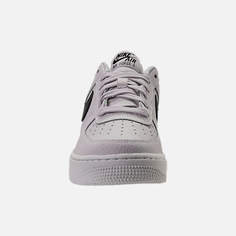 Front view of Boys' Grade School Nike Air Force 1 Low Casual Shoes in Vast Grey/Black/Summit White