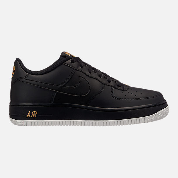 Right view of Big Kids' Nike Air Force 1 Low Casual Shoes in Black/Summit White/Metallic Gold