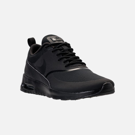 Three Quarter view of Women's Nike Air Max Thea Casual Shoes in Black/Black