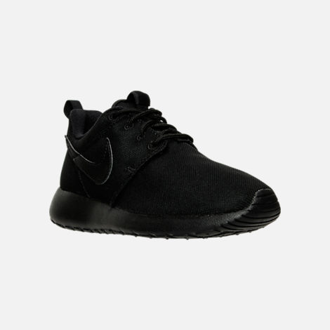 Three Quarter view of Boys' Grade School Nike Roshe One Casual Shoes in Black/Black/Black
