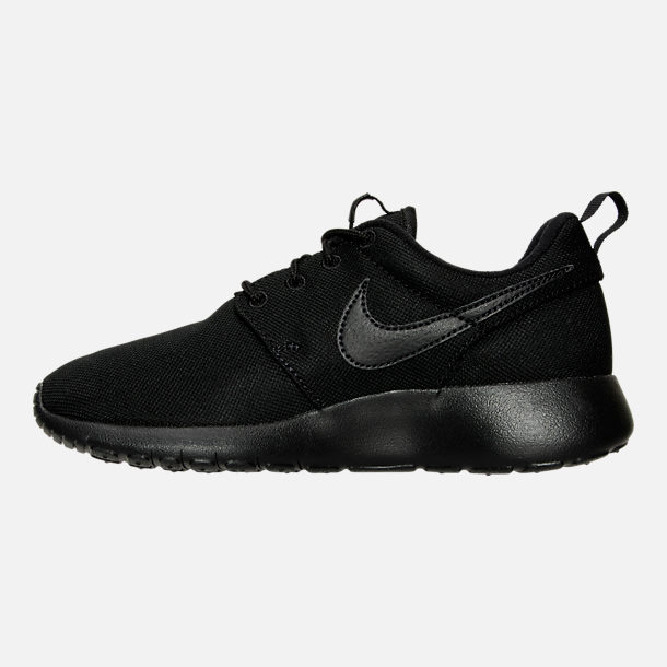 Left view of Boys' Grade School Nike Roshe One Casual Shoes in Black/Black/Black