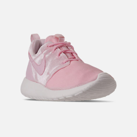 Three Quarter view of Girls' Grade School Nike Roshe One Casual Shoes in Arctic Pink/Sail