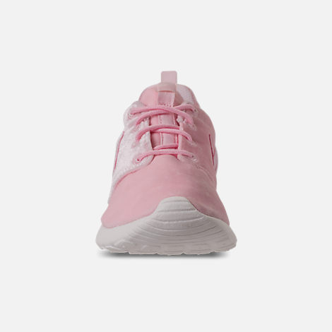 Front view of Girls' Grade School Nike Roshe One Casual Shoes in Arctic Pink/Sail
