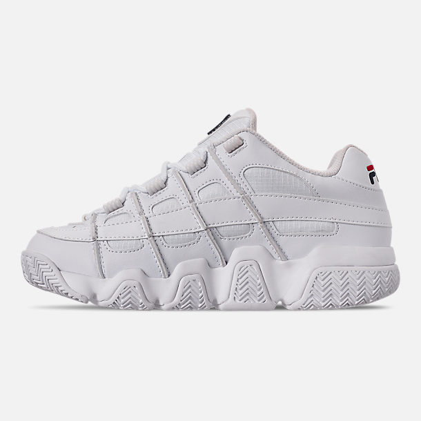 Left view of Women's Fila Barricade XT Low Casual Shoes in White/Fila Navy/Fila Red