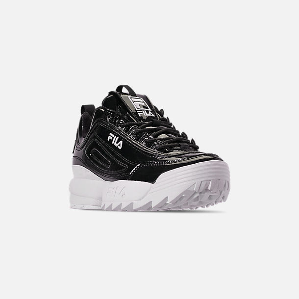 Three Quarter view of Women's Fila Disruptor 2 Premium Patent Casual Shoes in Patent Black/White