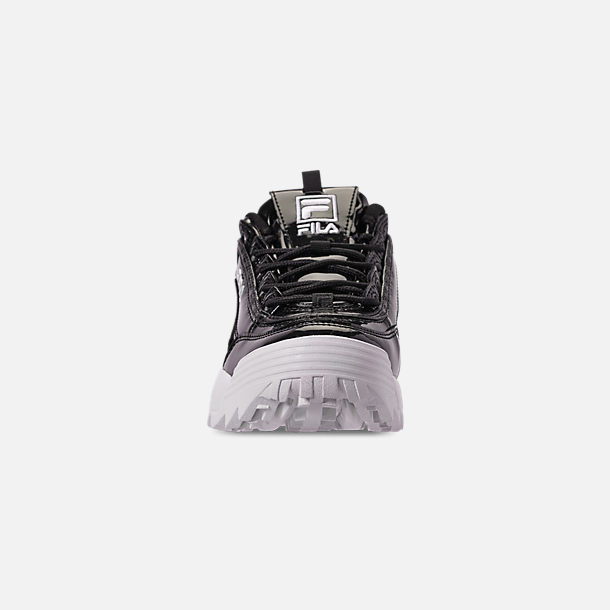 Front view of Women's Fila Disruptor 2 Premium Patent Casual Shoes in Patent Black/White
