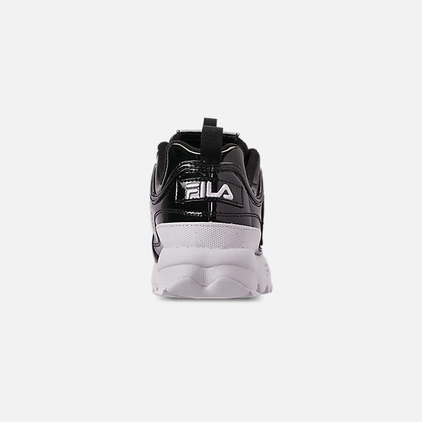 Back view of Women's Fila Disruptor 2 Premium Patent Casual Shoes in Patent Black/White