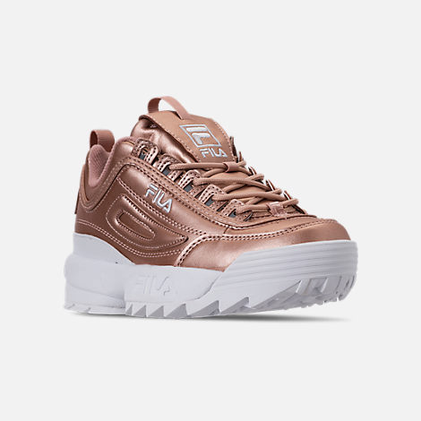 Three Quarter view of Women's Fila Disruptor II Premium Metallic Casual Shoes in Rose Gold/White