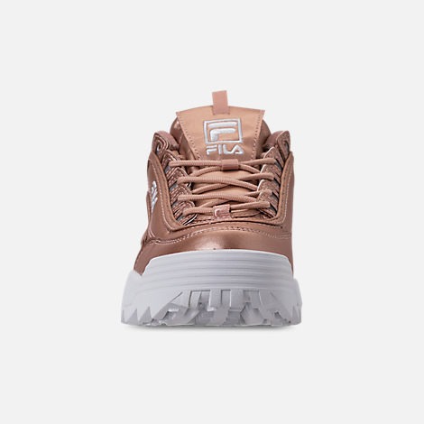 Front view of Women's Fila Disruptor II Premium Metallic Casual Shoes in Rose Gold/White