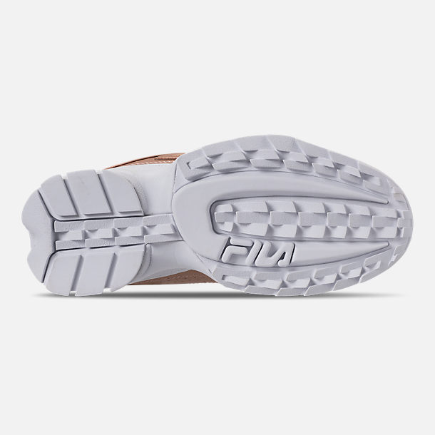 Bottom view of Women's Fila Disruptor II Premium Metallic Casual Shoes in Rose Gold/White