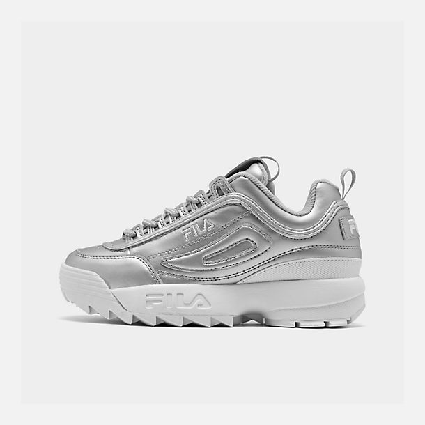 741f659ba095 Right view of Women s Fila Disruptor II Premium Metallic Casual Shoes in  Metallic Silver White