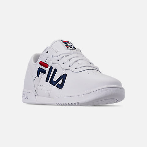 Three Quarter view of Women's Fila Original Fitness Casual Shoes in White/Navy/Red