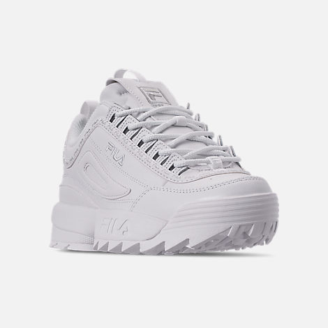 Three Quarter view of Women's Fila Disruptor II Premium Repeat Casual Shoes in White