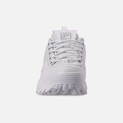 Front view of Women's Fila Disruptor II Premium Repeat Casual Shoes in White