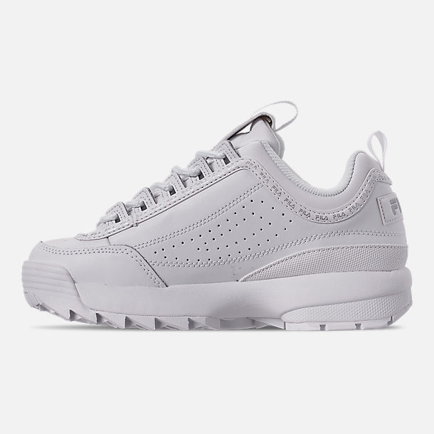 Left view of Women's Fila Disruptor II Premium Repeat Casual Shoes in White
