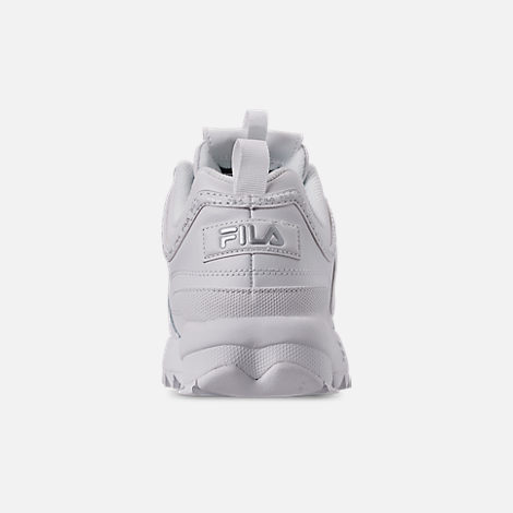 Back view of Women's Fila Disruptor II Premium Repeat Casual Shoes in White