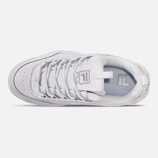 Top view of Women's Fila Disruptor II Premium Repeat Casual Shoes in White