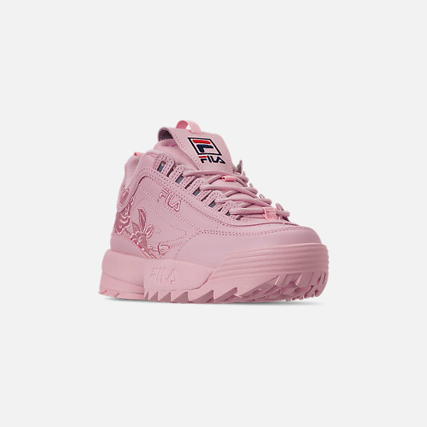 Three Quarter view of Women's Fila Disruptor II Embroidery Casual Shoes in Pink
