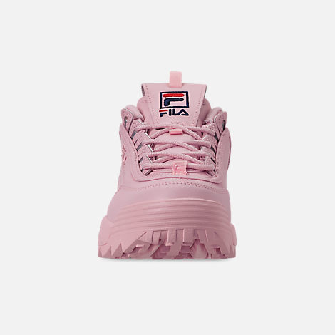 Front view of Women's Fila Disruptor II Embroidery Casual Shoes in Pink