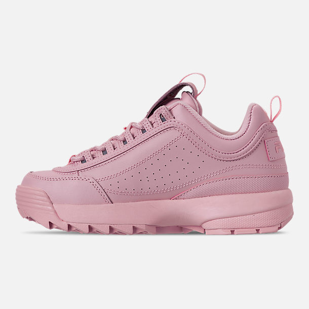 Left view of Women's Fila Disruptor II Embroidery Casual Shoes in Pink