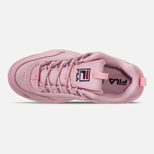 Top view of Women's Fila Disruptor II Embroidery Casual Shoes in Pink