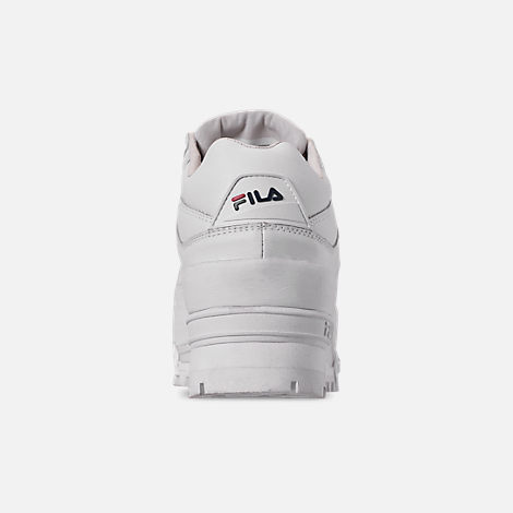 Back view of Women's Fila Trailblazer Wedge Casual Shoes in White